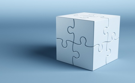 3d rendering of a cube made of puzzle pieces photo