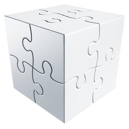 puzzle pieces: 3D Rendering eines Cubes der Puzzle-Teile gemacht