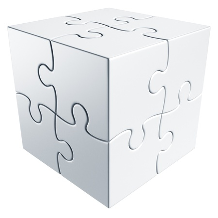white cube: 3d rendering of a cube made of puzzle pieces Stock Photo