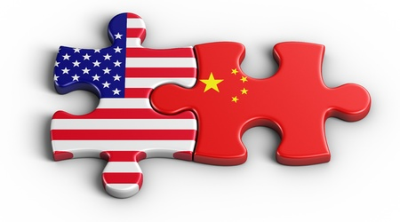china background: 3d rendering of an american puzzle piece and a Chinesse