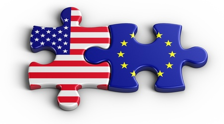usa flags: 3d rendering of an american puzzle piece and a European
