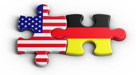 bandera alemania: representaci�n 3D de una pieza de puzzle estadounidense y alem�n