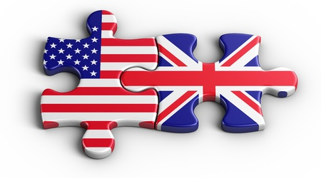 united  kingdom: 3d rendering of an american puzzle piece and a British