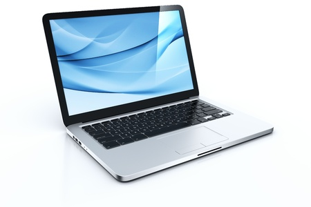 3d rendering of a laptop with blue graphics Stock fotó