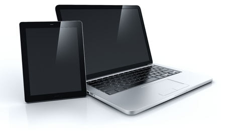 3d rendering of a laptop and a tablet Stock Photo - 10654142