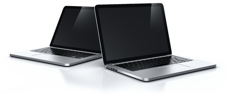 3d rendering of two laptops