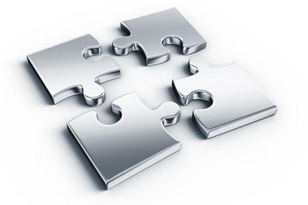 piezas de rompecabezas: Piezas met�licas en un piso blanco Foto de archivo