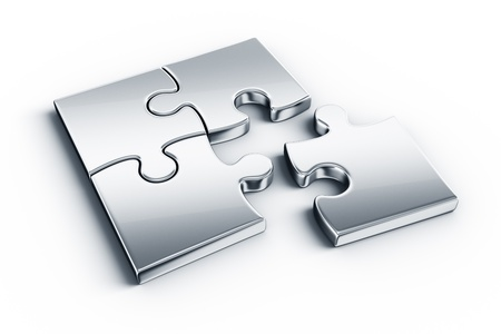 puzzles: Metal puzzle pieces on a white floor
