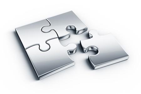 piezas de puzzle: Piezas metálicas en un piso blanco Foto de archivo