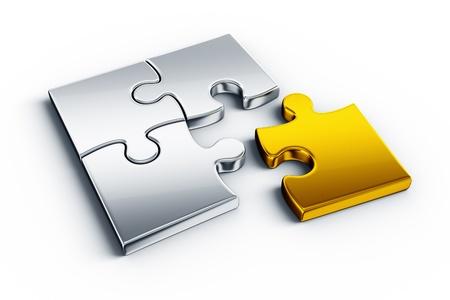 puzzle pieces: Metall-Puzzle-Teile auf einem wei�en Stock mit einem St�ck in Gold
