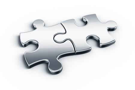 puzzle pieces: Metall-Puzzle-Teile auf einem wei�en Stock