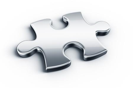 jigsaws: Puzzle di pezzi di metallo su un pavimento bianco