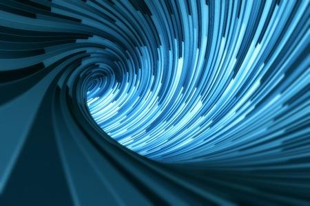 tunnel di luce: 3D rendering di un tunnel blu