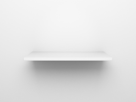 single shelf: 3d rendering of an empty bookshelf on a white wall
