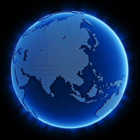 Representaci�n 3D de un planeta azul hecha de hex�gonos que muestran en Asia Foto de archivo - 10654059