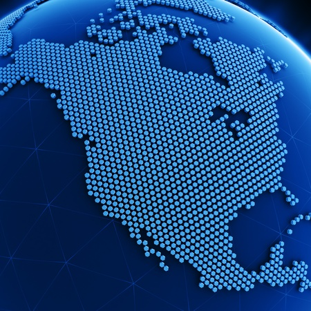 cgi: 3d rendering of a blue planet made out of hexagons showing USA and Canada Stock Photo