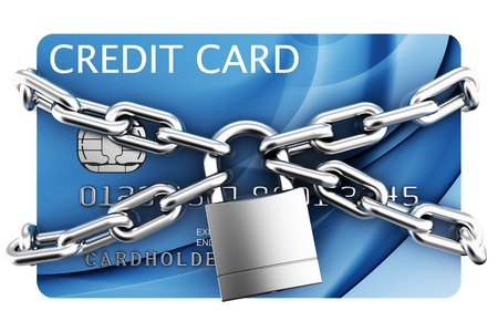 card payment: 3d rendering of padlocked credit card