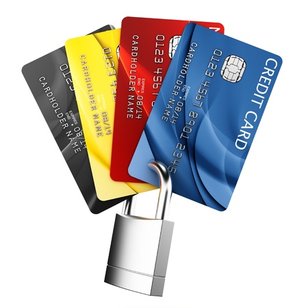 credit cards: 3d rendering of padlocked credit cards