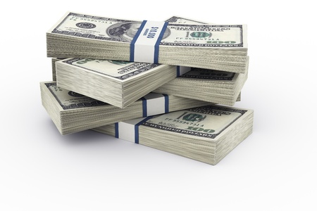cgi: 3d rendering of a stack of 100 dollar bills.