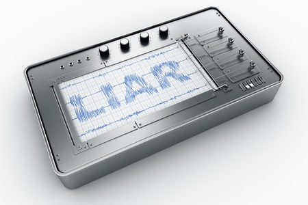 lie: 3d rendering of a lie detector Stock Photo