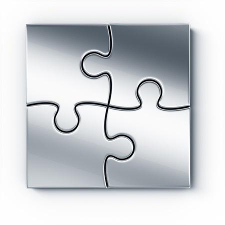 piezas de puzzle: Rompecabezas de piezas de metal en un piso blanco visto desde la parte superior