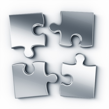 four objects: Metal puzzle pieces on a white floor seen from the top Stock Photo