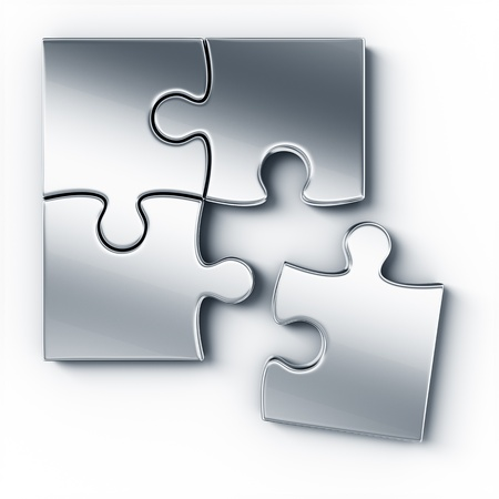 puzzle pieces: Metal puzzle pieces on a white floor seen from the top Stock Photo