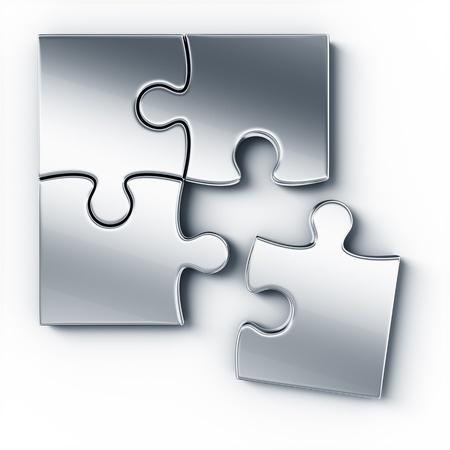 piezas de rompecabezas: Rompecabezas de piezas de metal en un piso blanco visto desde la parte superior