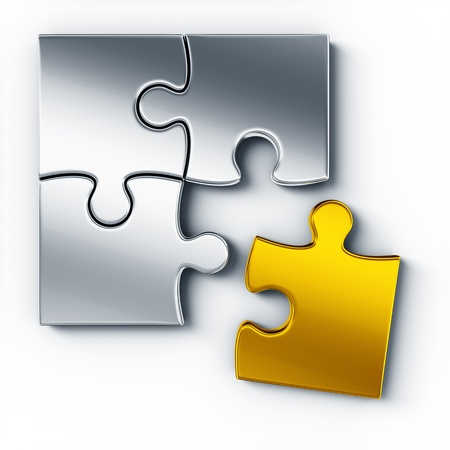 puzzle pieces: Metall-Puzzle-Teile auf einem wei�en Boden von oben gesehen, ein St�ck in Gold