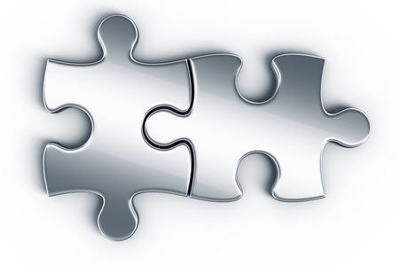 two object: Metal puzzle pieces on a white floor seen from the top Stock Photo