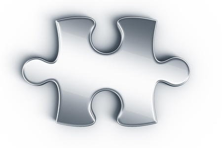puzzles: Metal puzzle pieces on a white floor seen from the top Stock Photo