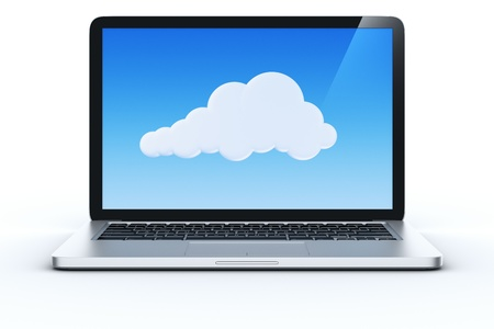 3d rendering of a laptop showing a cloud to show the concept of cloud computing. photo
