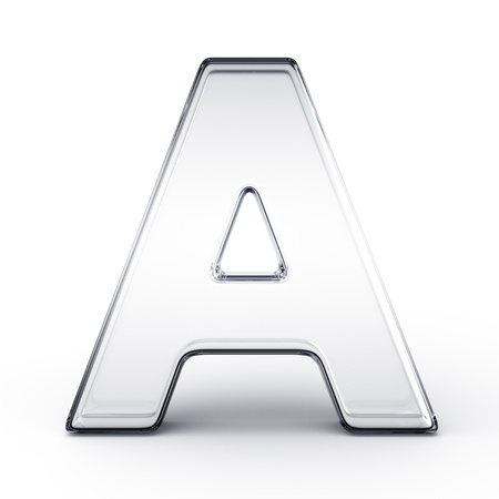 3d rendering of the letter A in glass on a white isolated background. Imagens
