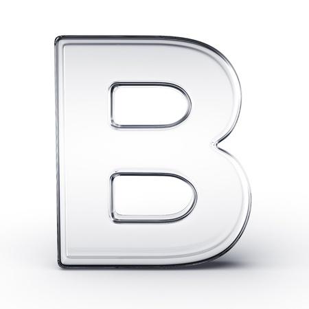 reflect: 격리 된 흰색 배경에 유리에서 문자 B의 3d 렌더링.