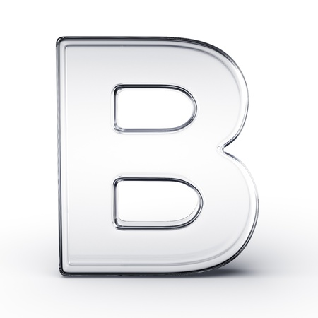 reflective: 3d rendering of the letter B in glass on a white isolated background.