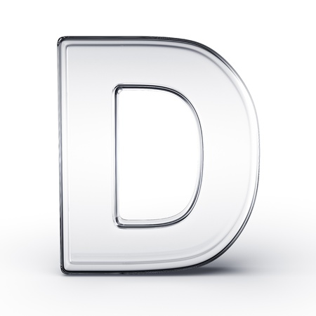 cgi: 3d rendering of the letter D in glass on a white isolated background.