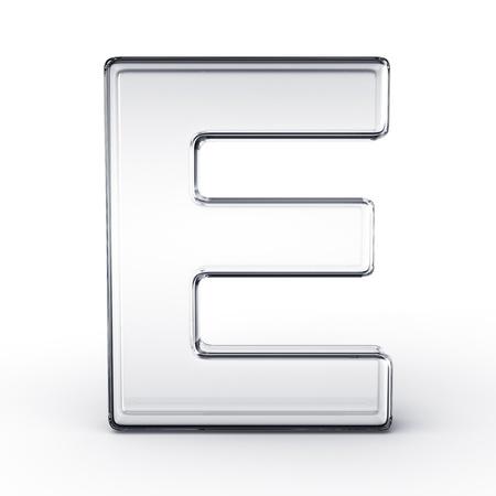 分離の白地にガラスの手紙 E の 3 d レンダリング。