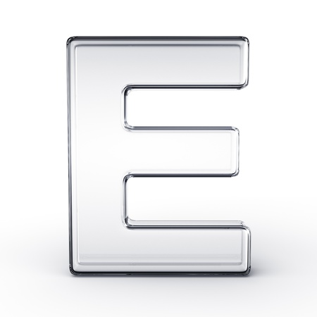 cgi: 3d rendering of the letter E in glass on a white isolated background.