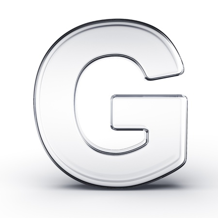 3d rendering of the letter G in glass on a white isolated background. photo