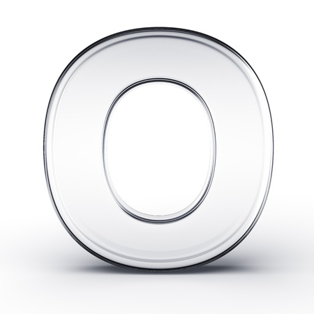 3d rendering of the letter O in glass on a white isolated background. Stock Photo