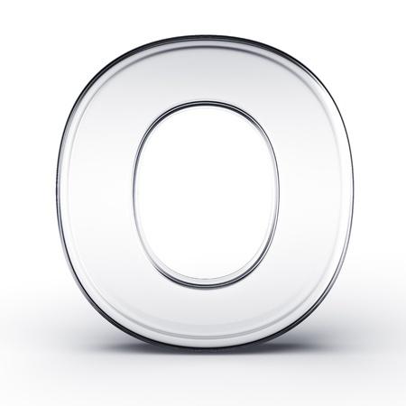 3D-Rendering von den Buchstaben O in Glas isoliert auf einem weißen Hintergrund. Standard-Bild