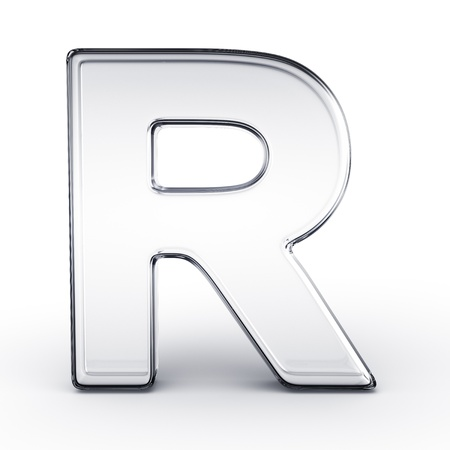 types of glasses: 3d rendering of the letter R in glass on a white isolated background.