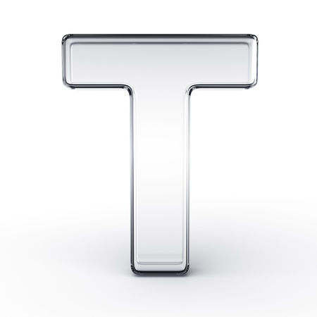 3d rendering of the letter T in glass on a white isolated background. photo