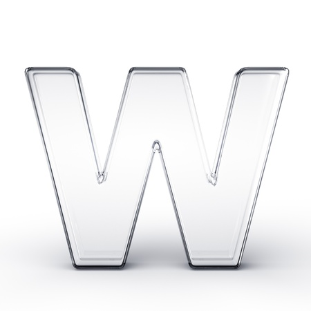 3d rendering of the letter W in glass on a white isolated background.