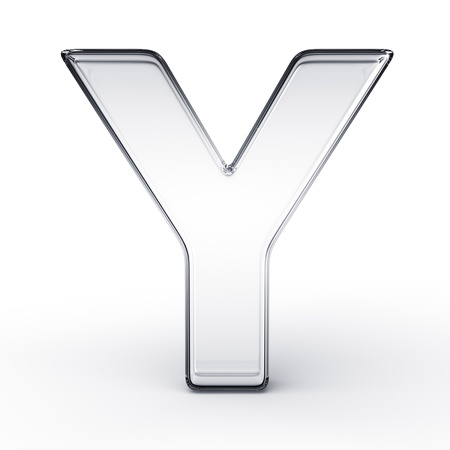 3d rendering of the letter Y in glass on a white isolated background. photo