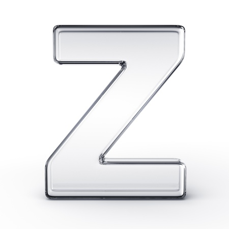 3d rendering of the letter Z in glass on a white isolated background. photo