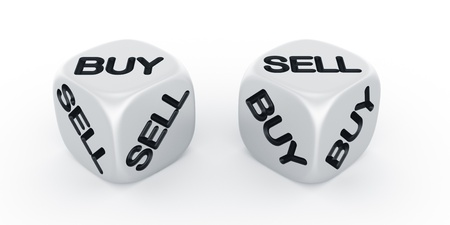 3d rendering of two dices with buy and sell engraved Stock Photo - 10846171
