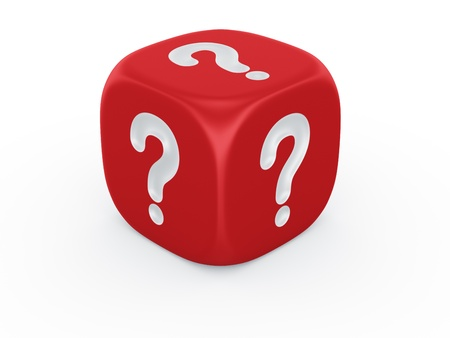 red dice: 3d rendering of a dice with a question mark engraved