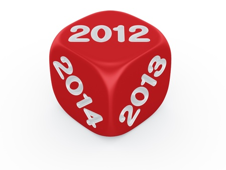 3d rendering of a dice with the year 2012, 2013 and 2014 engraved