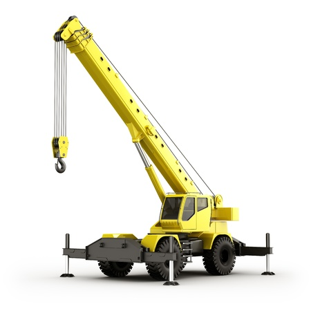 lifting hook: 3d rendering of a highly realistic mobile crane.